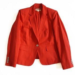 Michael Kors Womens Cotton Linen Blazer Red